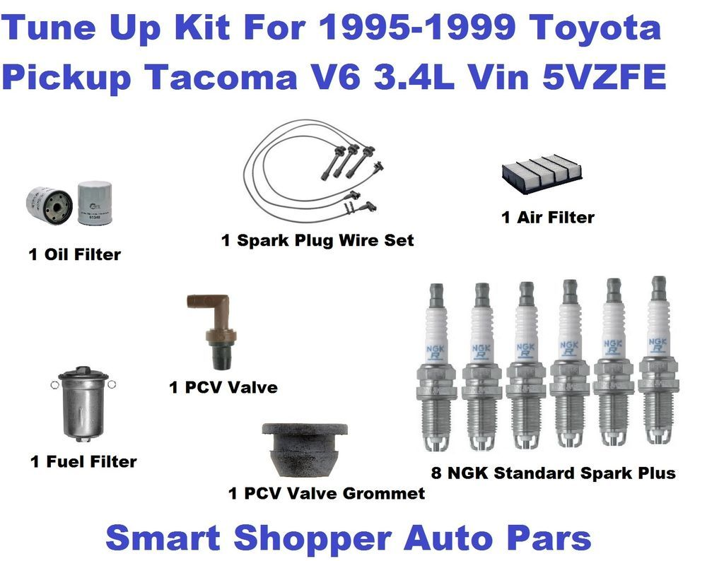 tune up kit for 95 99 toyota tacoma v6 spark plug wire set oil rh pinterest com Toyota 3 4 Engine Reliability Toyota Tacoma Spark Plug Coil