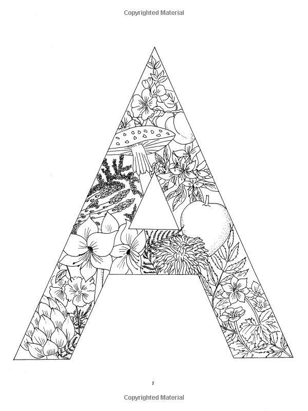 Floral Alphabet Coloring Designs Coloring Books Coloring Letters Letter A Coloring Pages