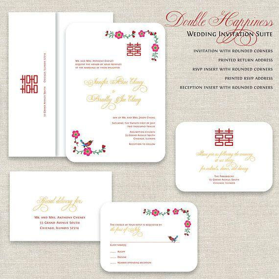 Chinese Wedding Invitations Double Happiness Wedding Invitations