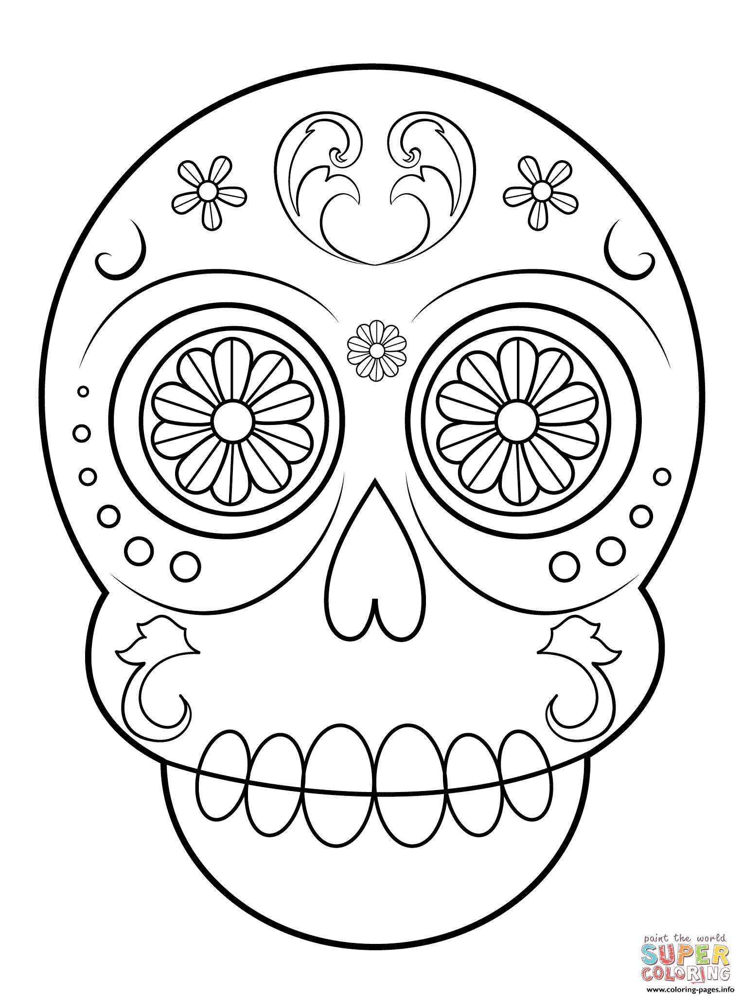 Print Sugar Skull Simple Easy Coloring Pages Skull