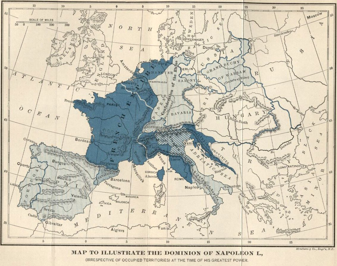 map of europe 1810 the dominion of napoleon i irrespective of occupied territories