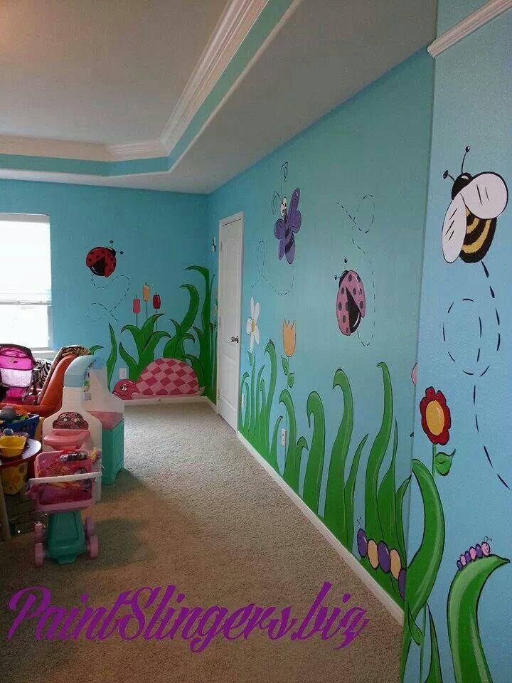 Kids Room Mural Bugs Butterflies Turtles Flowers Playroom Mural Kids Room Murals Kids Room Paint
