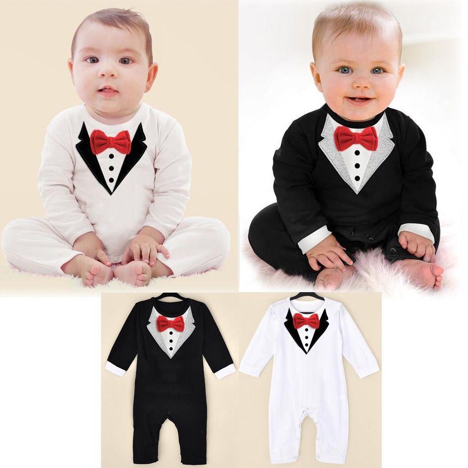 Cheap 1 unids recién nacido Baby Boy Formal mameluco smoking traje  pantalones mono ropa Gentleman para bebé infantil del mameluco del mono 4409ef5336f