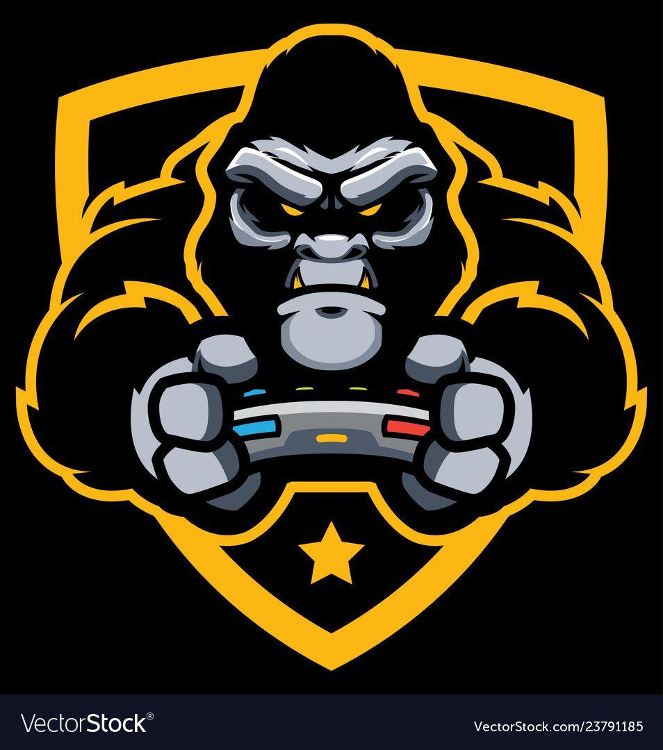 Gorilla gamer mascot Royalty Free Vector Image em 2020