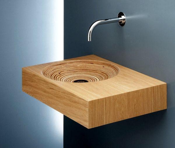 moderne waschbecken holz waschbecken bad einrichten | Badezimmer ...