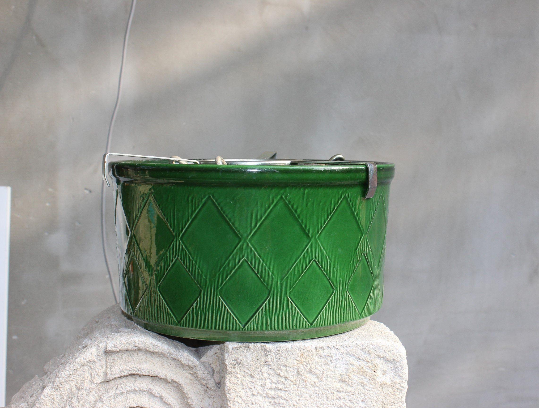 Vintage Christmas tree stand Large Green Ceramic planter  Terracotta Plant holder Garden Home Patio decor Gift