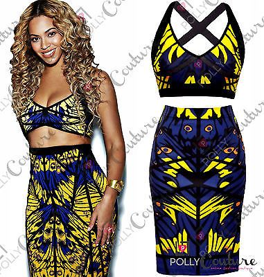 6155cf533aab Womens Celeb Two Piece 2 Bodycon Bralet Crop Top Skirt Party Bandage Midi  Dress