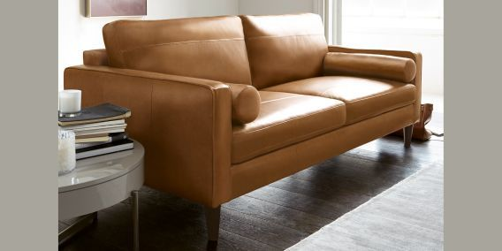 Hampstead Leather Large Sofa 3 Seats Sondrio Light Tan Conical