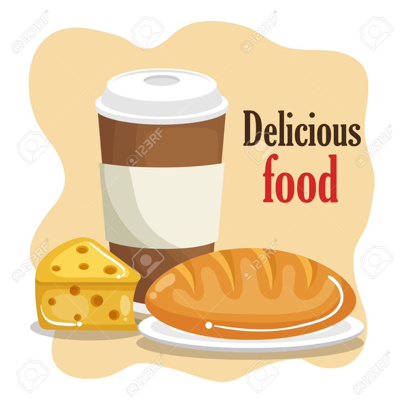coffee with bread and cheese vector illustration design Illustration ,