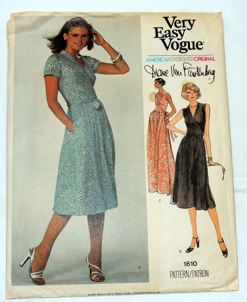 Vtg Vogue Pattern 1610 Diane Von Furstenberg Wrap Dress Pattern Uncut Sz 14 Dvf Vogue Sewing Patterns Wrap Dress Pattern Diane Von Furstenberg Wrap Dress Pattern [ 1000 x 816 Pixel ]