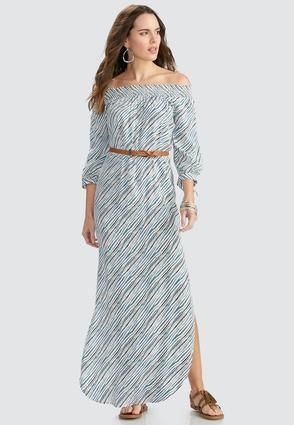 f9c33928473 Cato Fashions Belted Off the Shoulder Striped Maxi Dress  CatoFashions