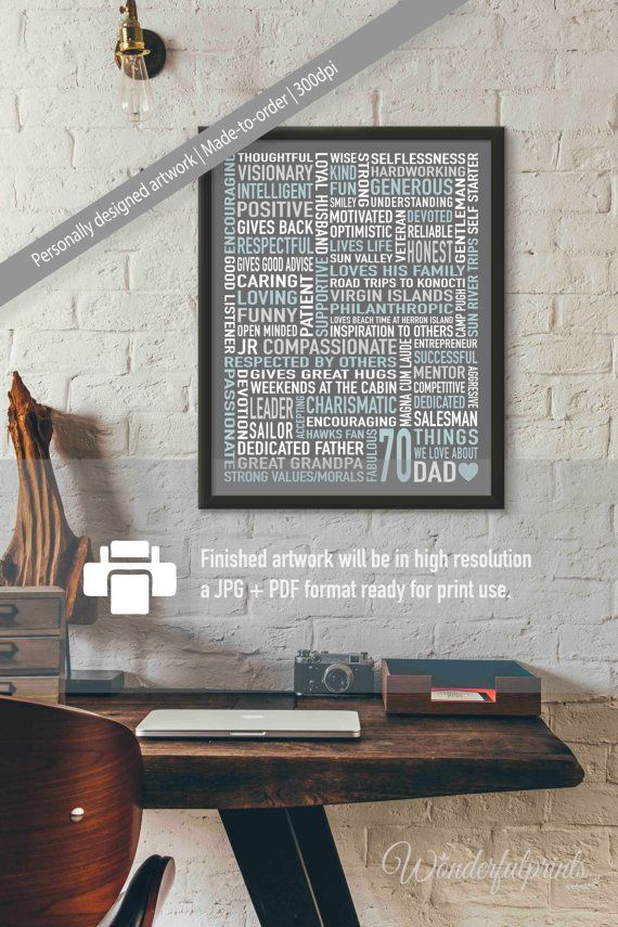 70 Things We Love About DAD 70th Birthday By WonderfulPrints Dad 60th Gift
