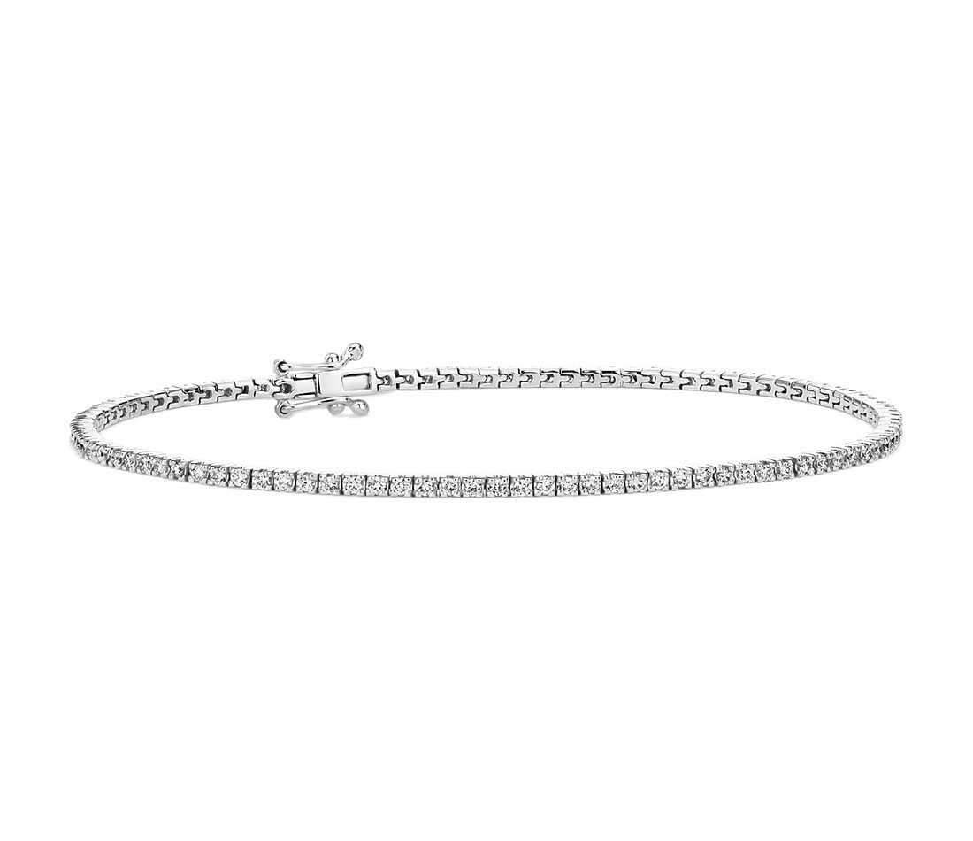 Diamond Tennis Bracelet In 14k White Gold 1 Ct Tw Blue Nile Tennis Bracelet Diamond One Carat Diamond Tennis Bracelet