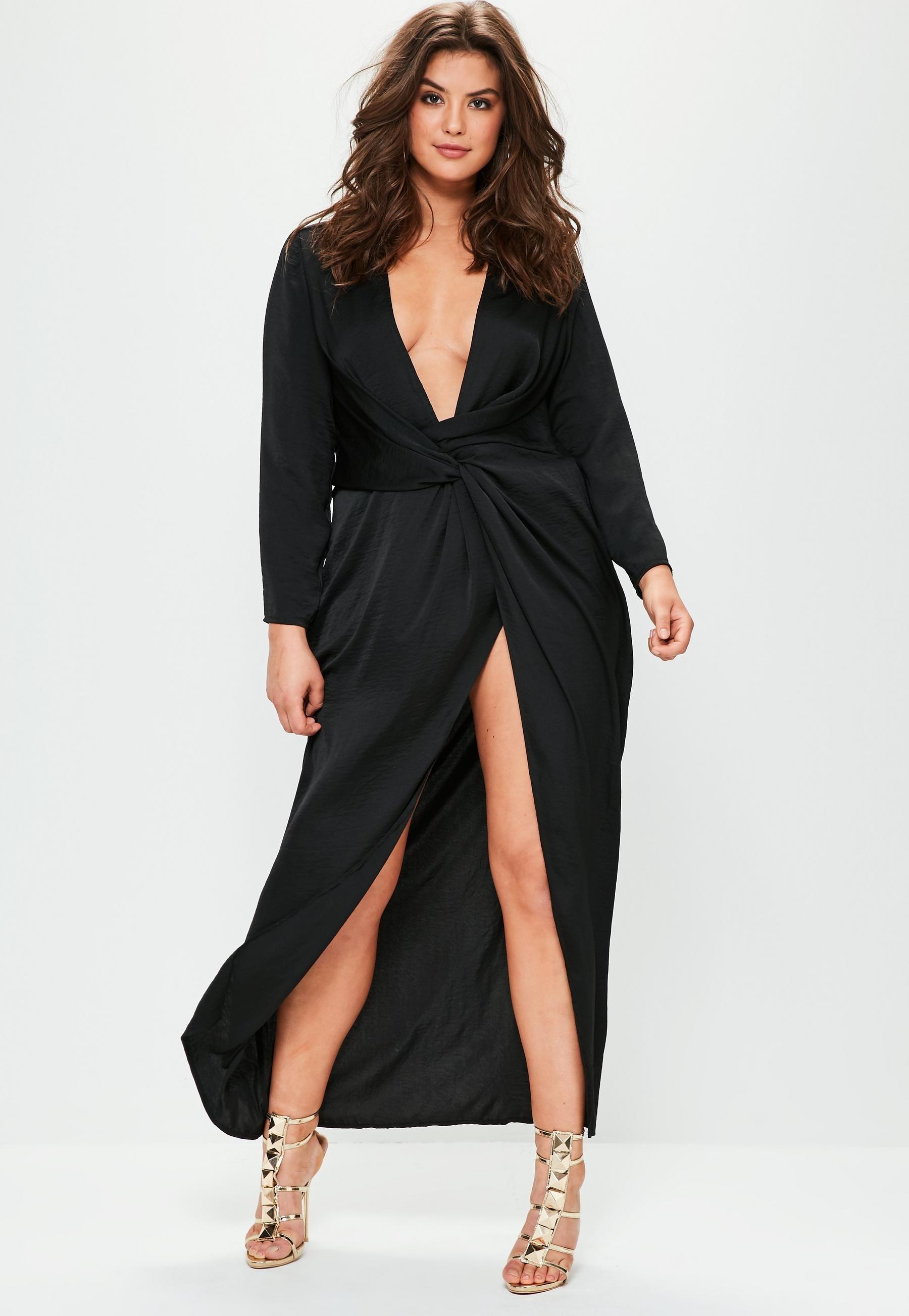 Plus Size Black Satin Thigh Split Wrap Maxi Dress  7c61954b2