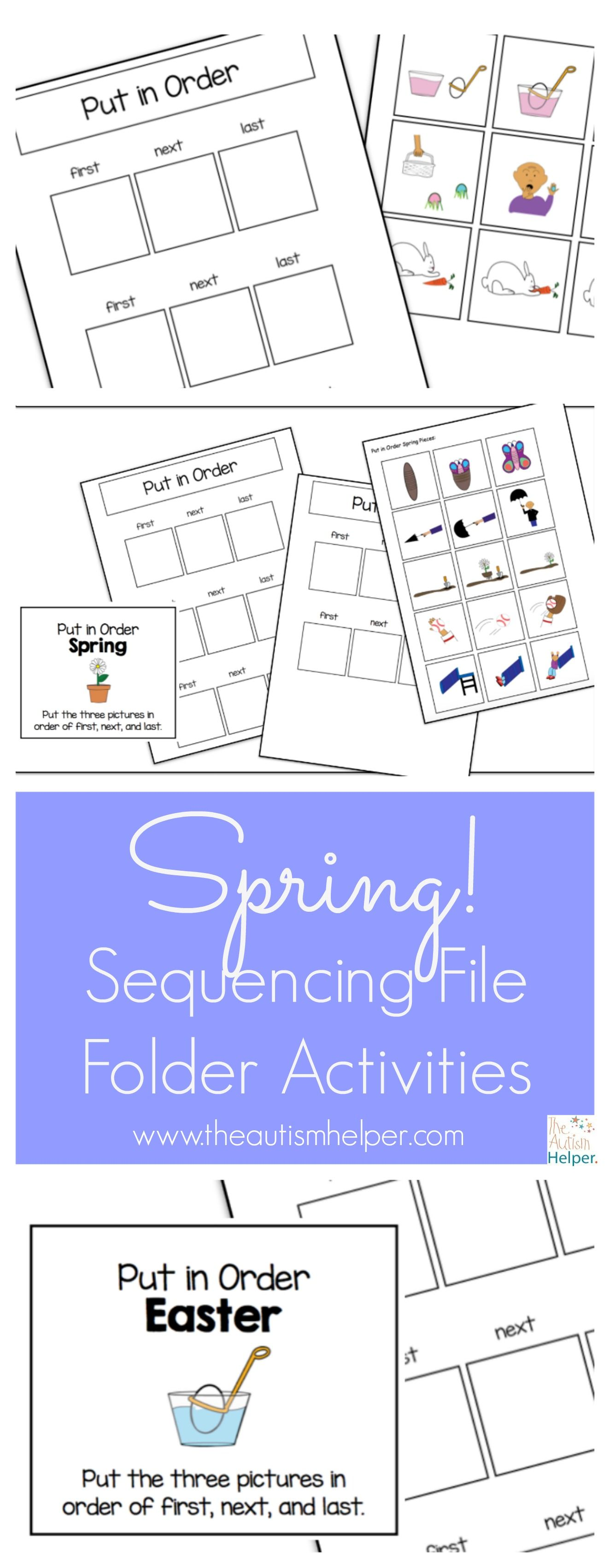 Spring Sequencing File Folder Activities Freebie