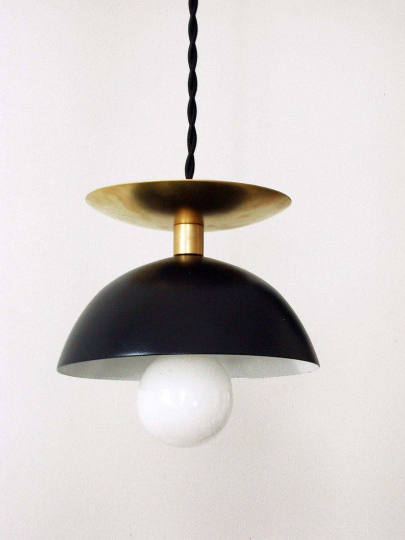 Black Brass Modern Pendant Lamp Entryway Mid Century Light Black