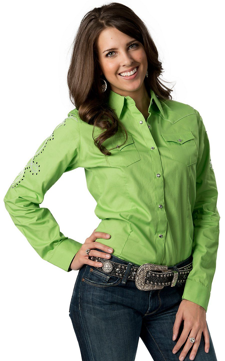 Wrangler Women's Lime Green W/ Silver Embroidery And Black