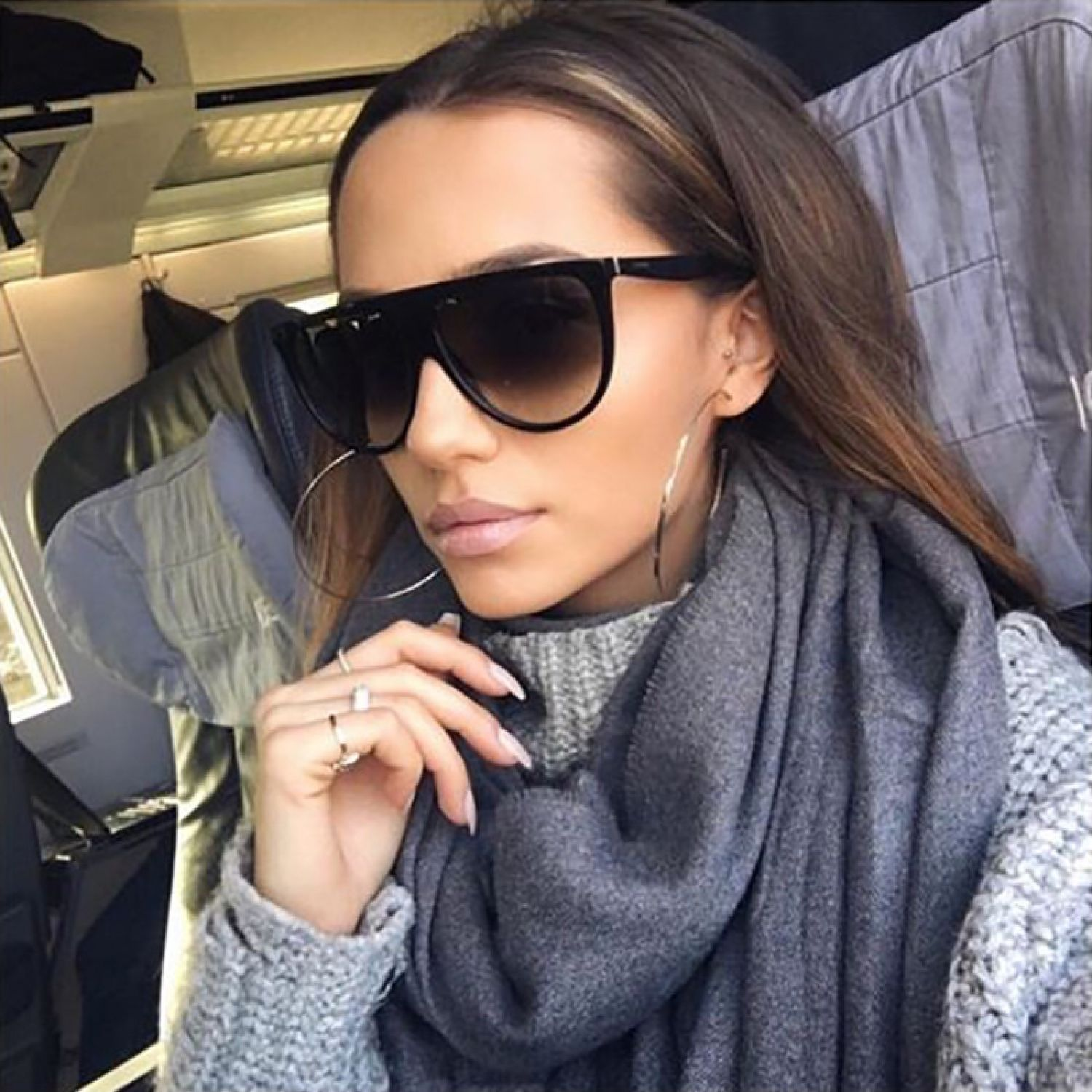 6caca47fae3 Kardashian Thin Teardrop Oversized Flat Top Aviator Designer Women  Sunglasses
