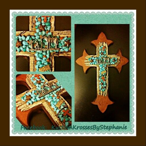 Praying Cowboy Cross with Teal Stones