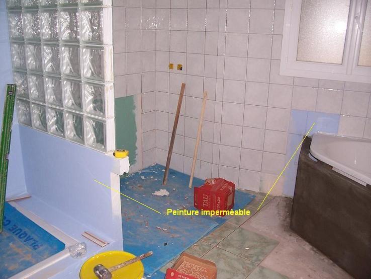 j 39 ai mont ma paroi de douche avec des blocs de pl tre hydrofuge coll s avec la colle pl tre. Black Bedroom Furniture Sets. Home Design Ideas