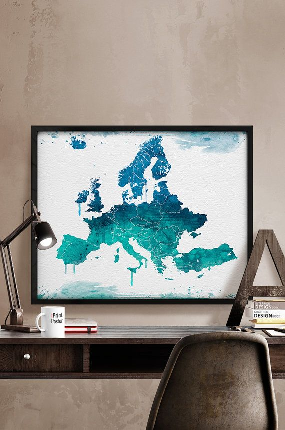 Europe map Art Print Watercolor Europe watercolor Poster Art watercolour World map art Artwork Wall art Home Decor iPrintPoster & Europe wall art print European map poster travel poster travel ...