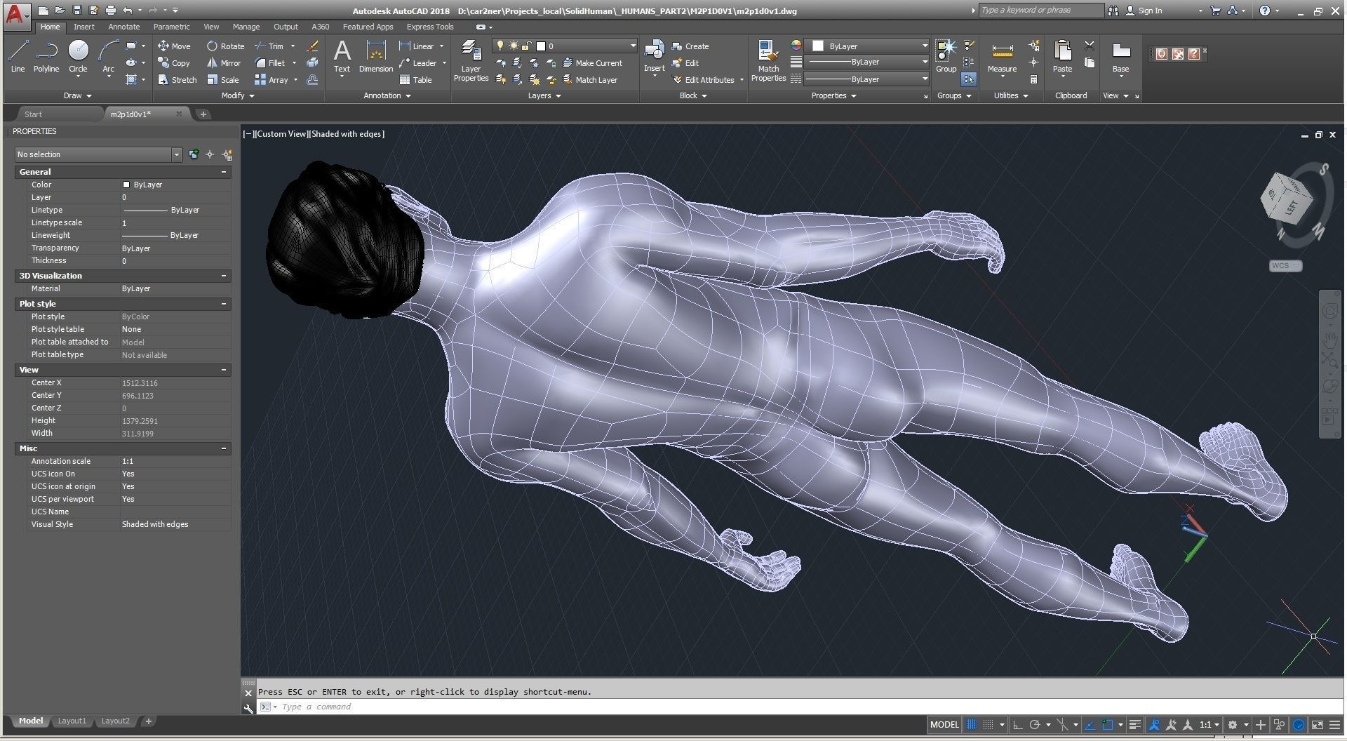 Solidbody CAD #Model M2P1D0V1 Tyler in AutoCAD interface