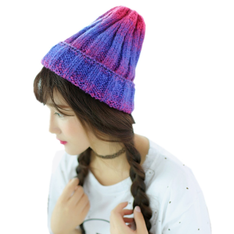 7.99$  Watch now - http://ali61v.shopchina.info/go.php?t=32770903779 - New Fashion Fall Winter Hats Gradient Color Knitted Hats For Women Skullies Caps Knit Cap Crimping Beanie Female Warm Hat CP056 7.99$ #magazine