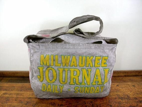 Rare Vintage Newspaper Delivery Bag Milwaukee Journal Wisconsin Vintage Messenger Bag Paperboy Vintage Messenger Bag Vintage Newspaper Bags