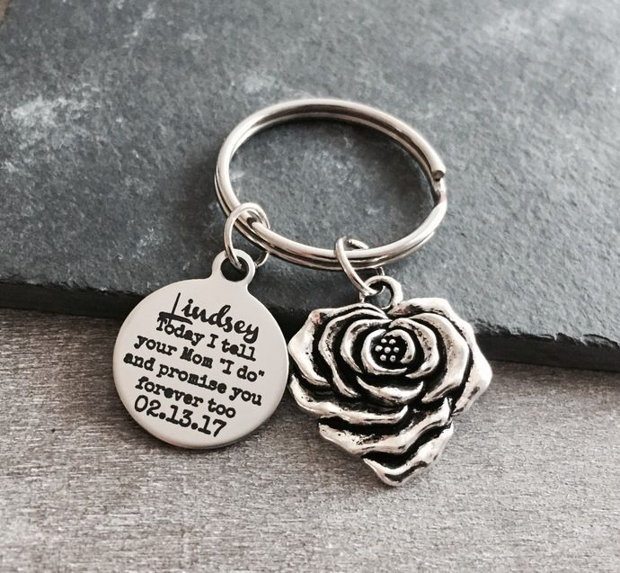 "Today I tell your Mom ""I do"" and promise you forever too, Step Daughter, Daughter of the Groom, Silver Keychain, Silver Keyring, Step son by SAjolie, $22.95 USD"