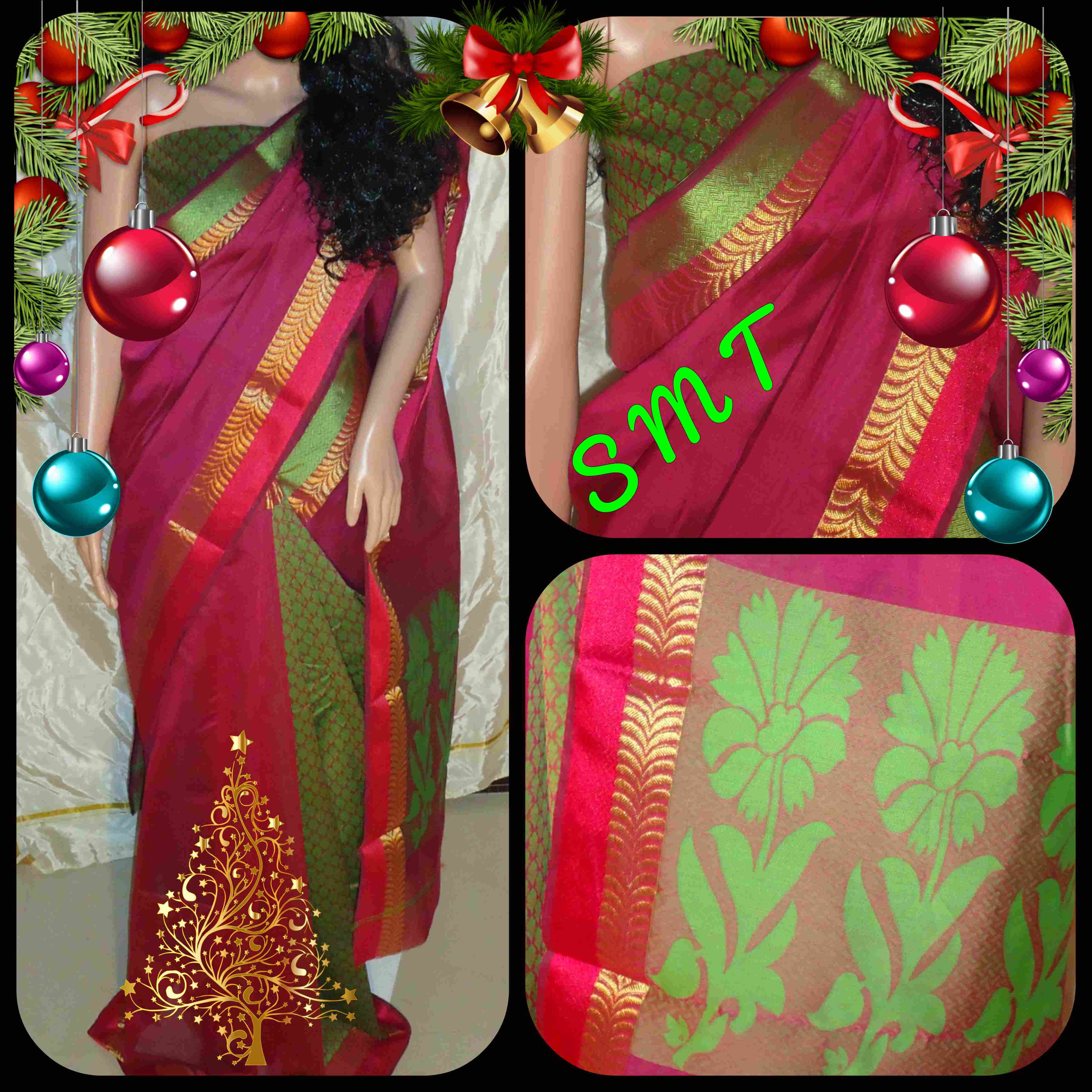 7027c26744052 🎄Fabric - Cora cotton sarees 🎄Blouse - Jacquard blouse 🎄Pallu -  Attractive Flower