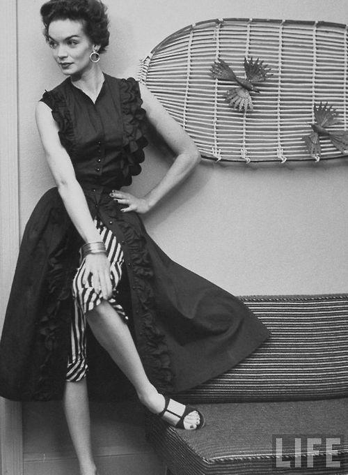 Women's Fancy Pants Fashion (trouser-under-skirt costumes). 1952 Photo by Yale Joel