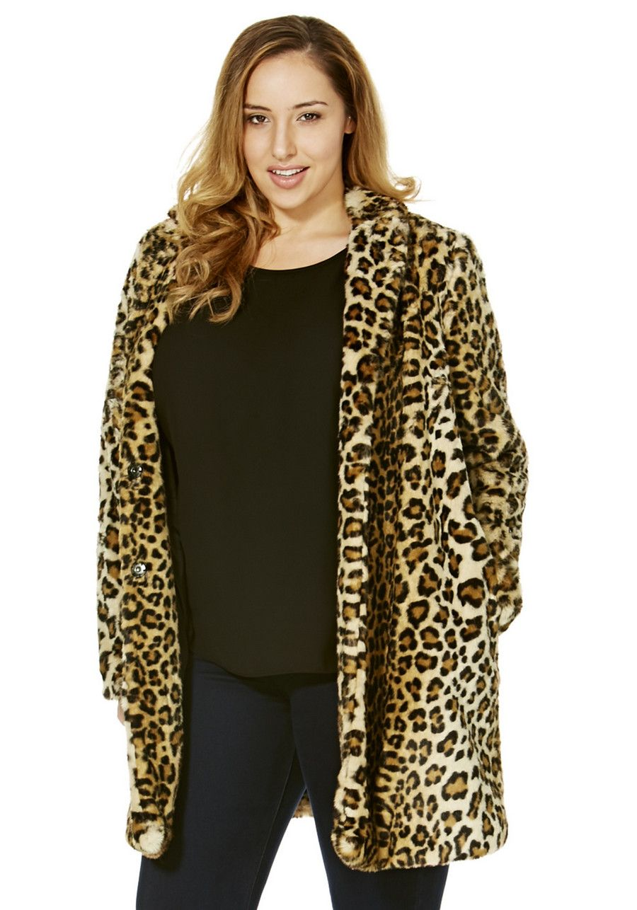 Clothing at Tesco | F&F True Animal Print Faux Fur Plus Size Coat ...