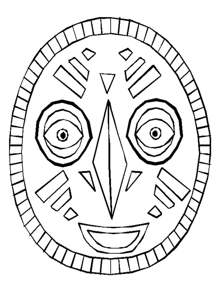 Use the African mask as a coloring page or copy the pattern onto ...