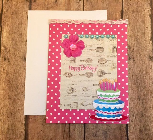 Pink Happy Birthday Note Card By Cat Company Designs On Etsy By