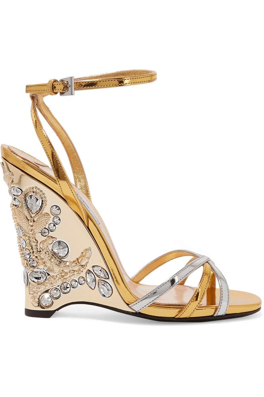 Prada | Embellished metallic leather wedge sandals | NET-A-PORTER.COM