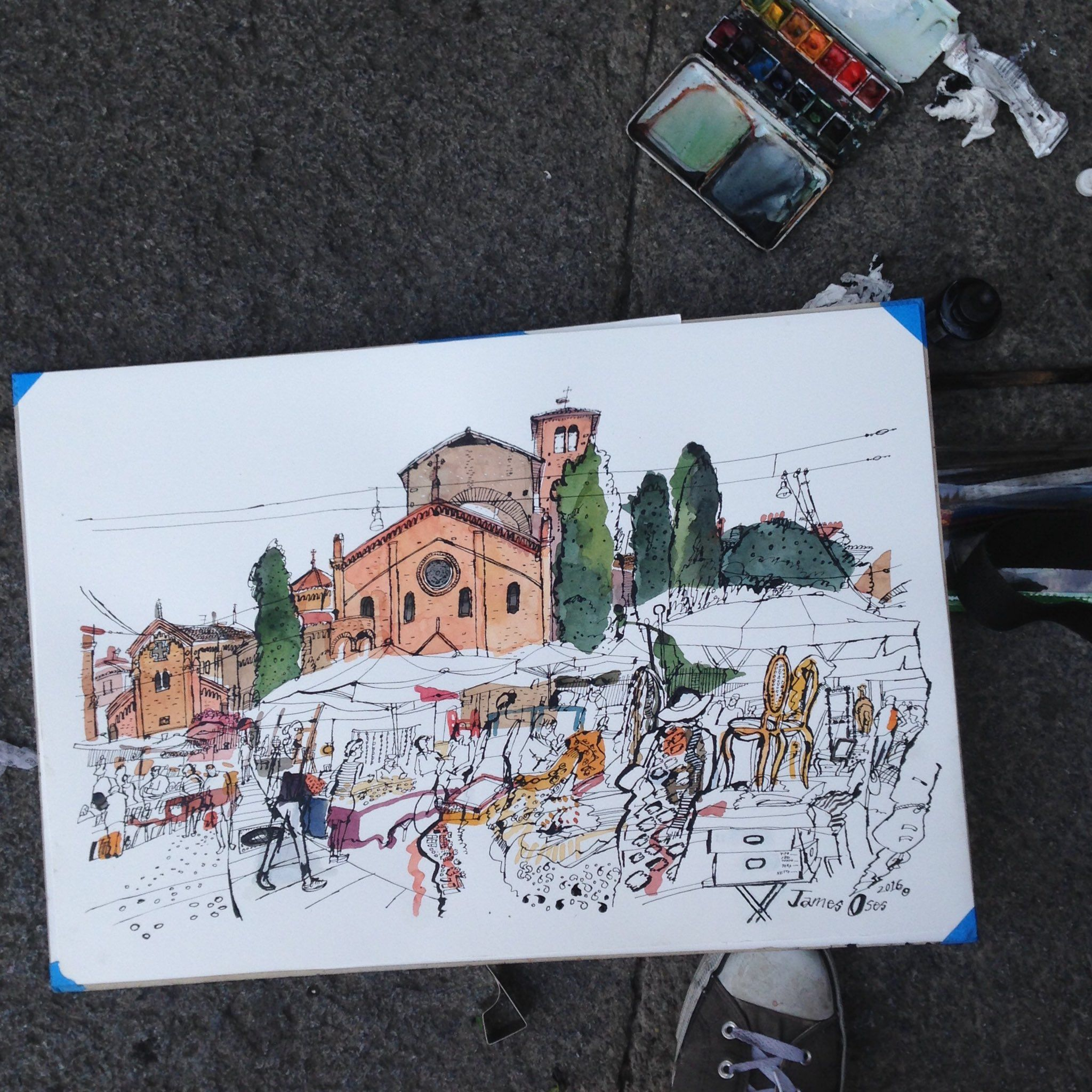 James Oses, Flea Market in Bologna (Piazza Santo Stefano)