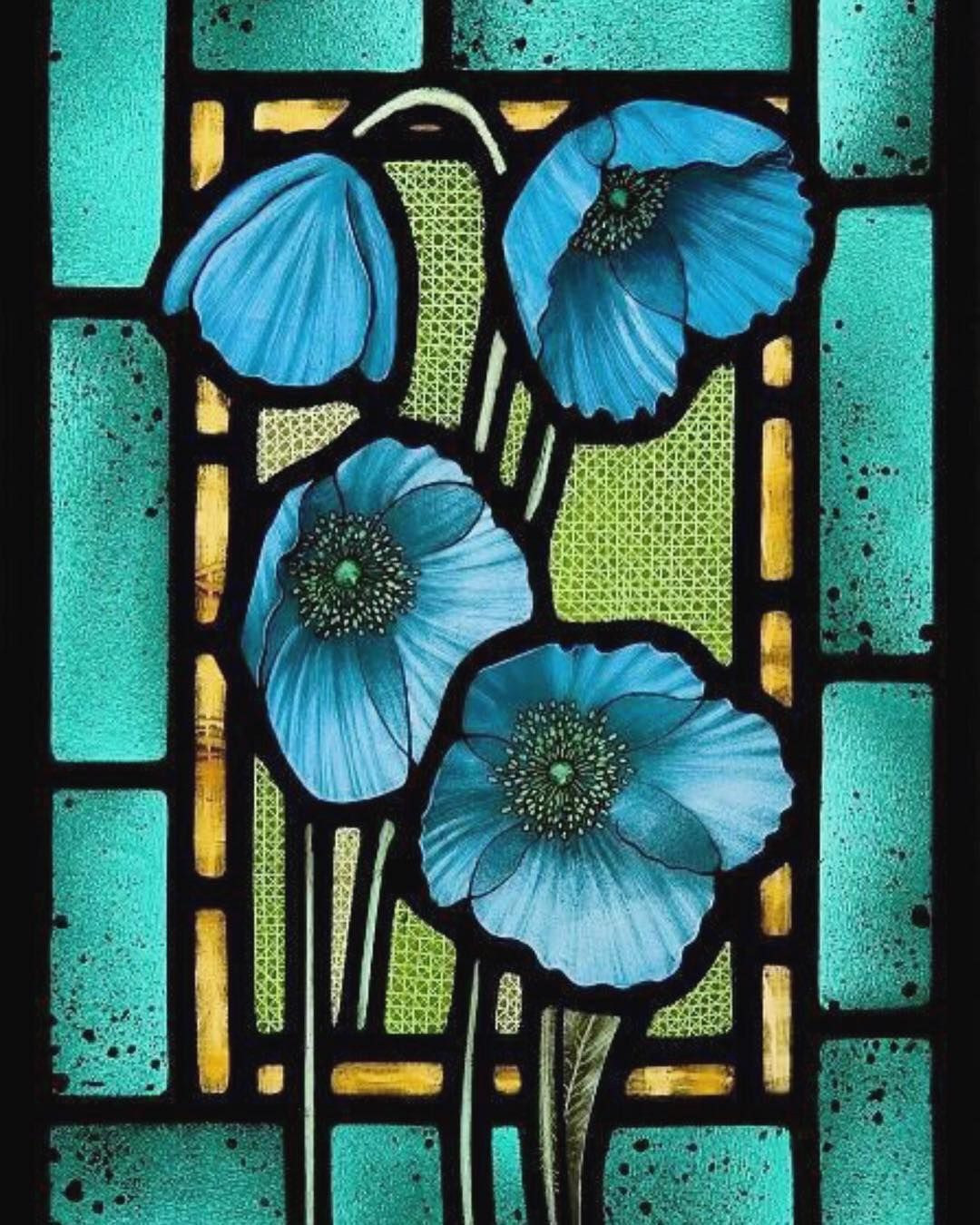 The Secret Lives Of Colour On Instagram Blue Poppies By Botanicaetcetera In 2020 Glass Painting Designs Stained Glass Flowers Stained Glass Paint