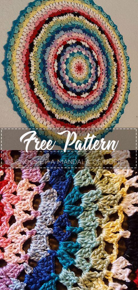 Crochet A Mandala of Hope – Free Pattern #crochetmandalapattern