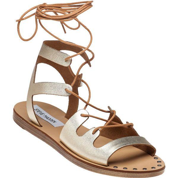 STEVE MADDEN Rella Gladiator Sandal Gold Leather ($55