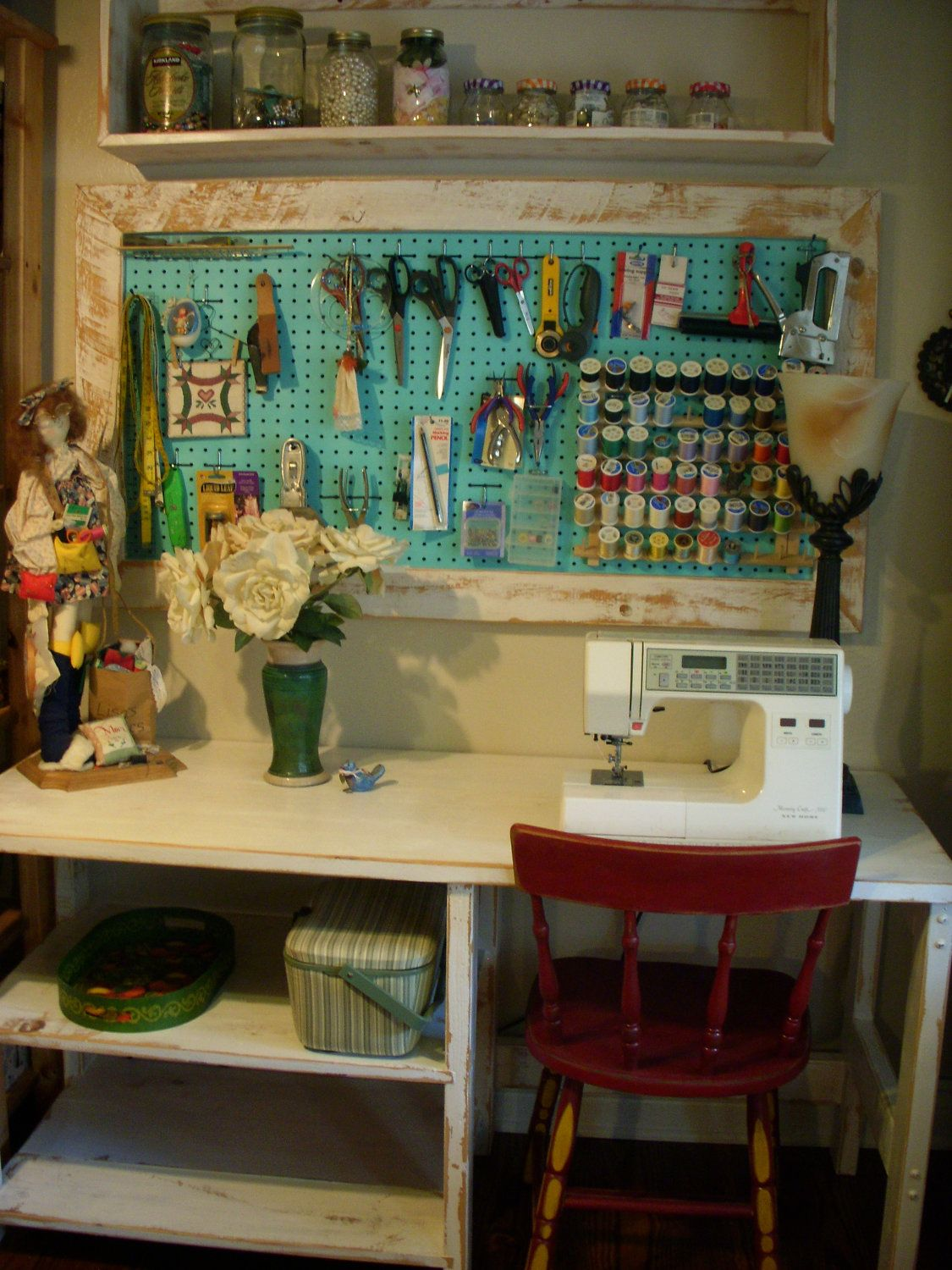 Beautiful Wood Framed Pegboard   Craft   Art Supply Storage   Sewing Room Organizing.