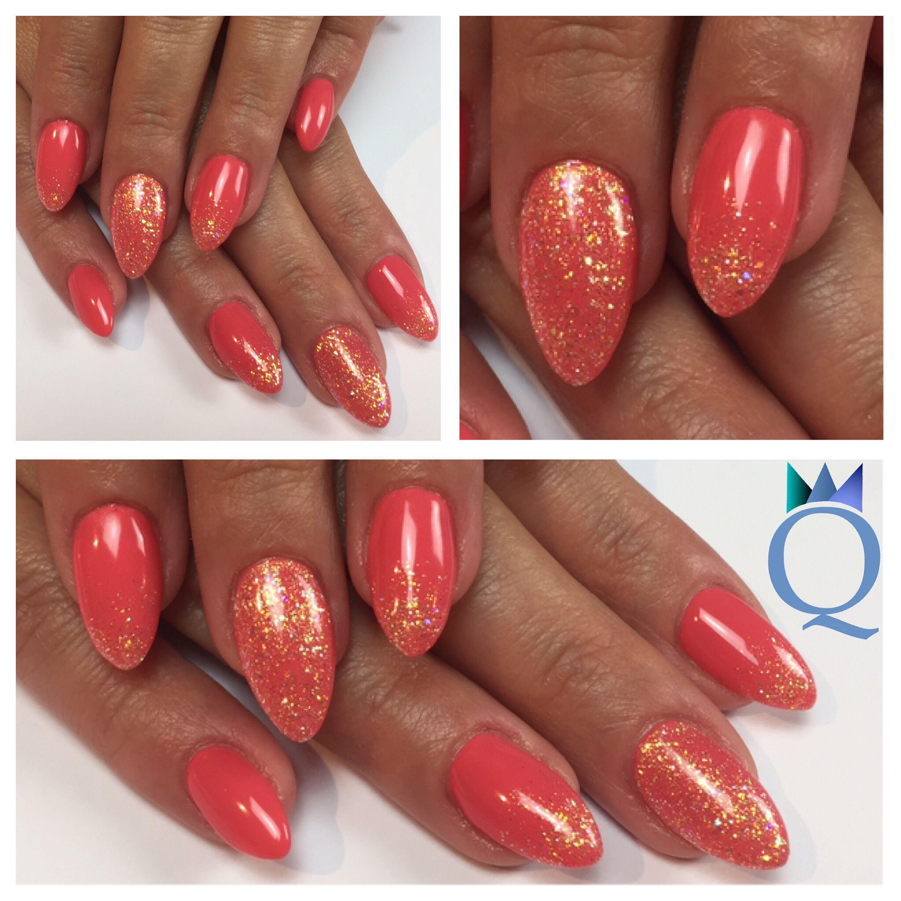 almondnails gelnails nails coral glitter nailcode. Black Bedroom Furniture Sets. Home Design Ideas