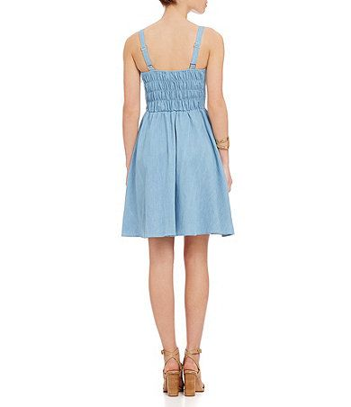 Alythea Chambray Fit-and-Flare Dress