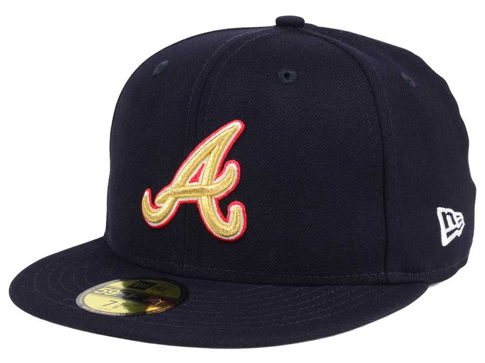 Atlanta braves new era mlb exclusive gold patch 59fifty