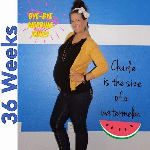 Baby bump 36 Weeks pregnant ByeBye Wedding Rings Maternity
