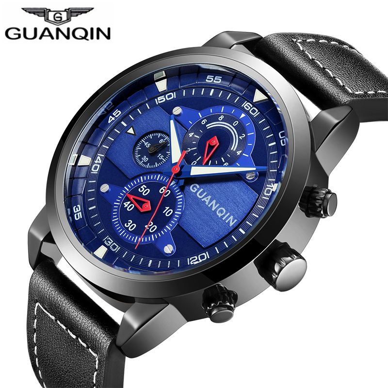 d1bb3aac680 2017 Relogio masculino Guanqin Mens Relógios Top Marca de Luxo GUANQIN  chronometer Novos Homens Da Moda