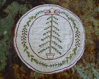 Hand Stitched Christmas Tree Candle Mat - Christmas Decoration - Christmas In July