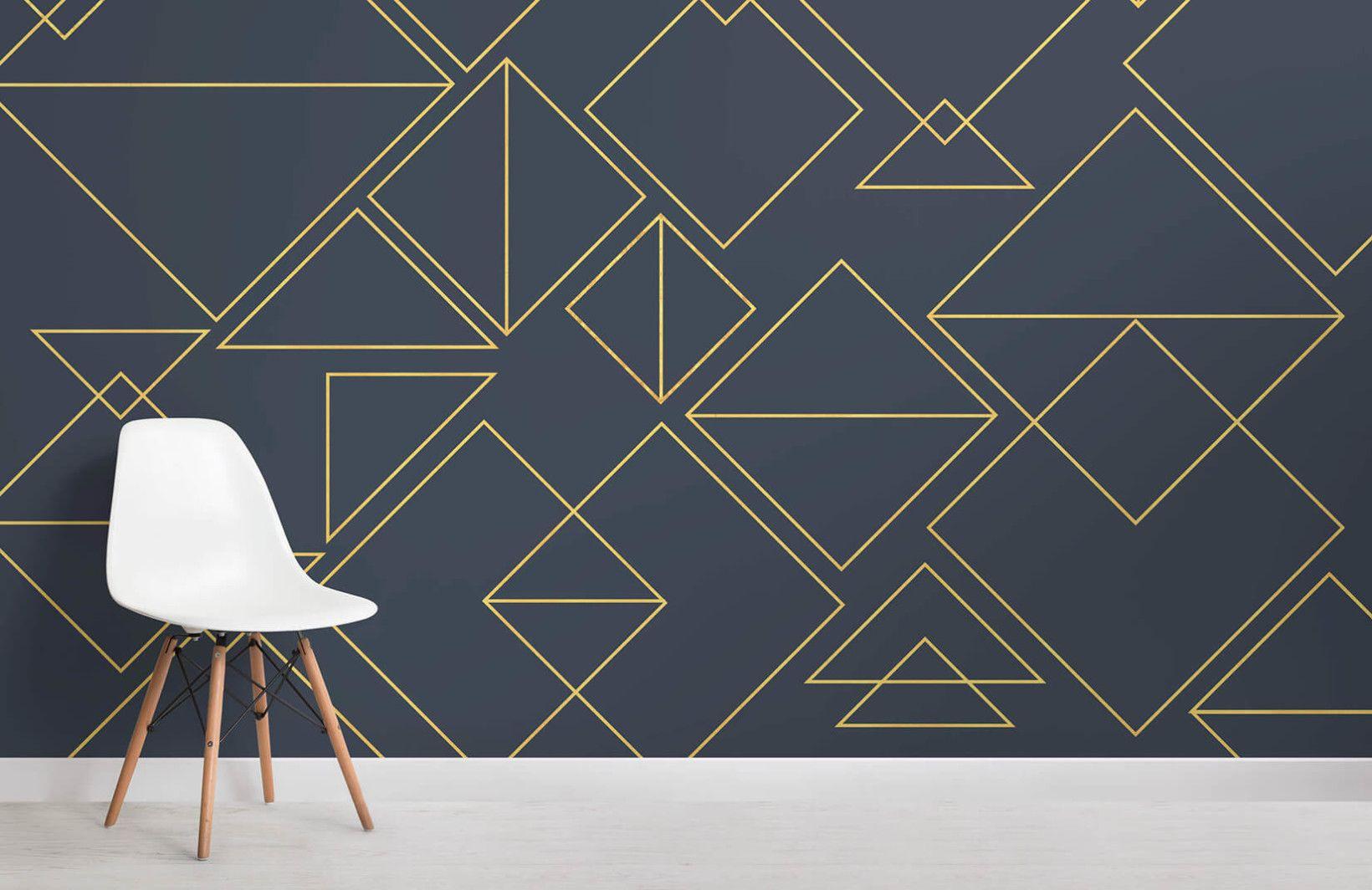 Triangles Wall Art Wall Decor Minimalist Wall Mural Modern Geometric Temporary Wallpaper Wallpaper Removable Wallpaper Minimal