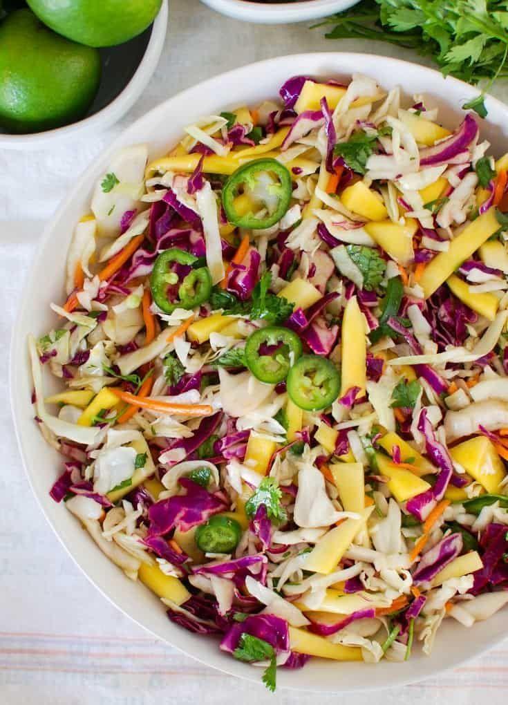 Easy Mango Cabbage Coleslaw #tacosidedishes