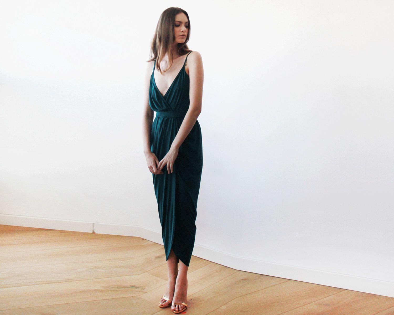 Wrap maxi Emerald green tulip dress, Emerald bridesmaids gown, Green ...