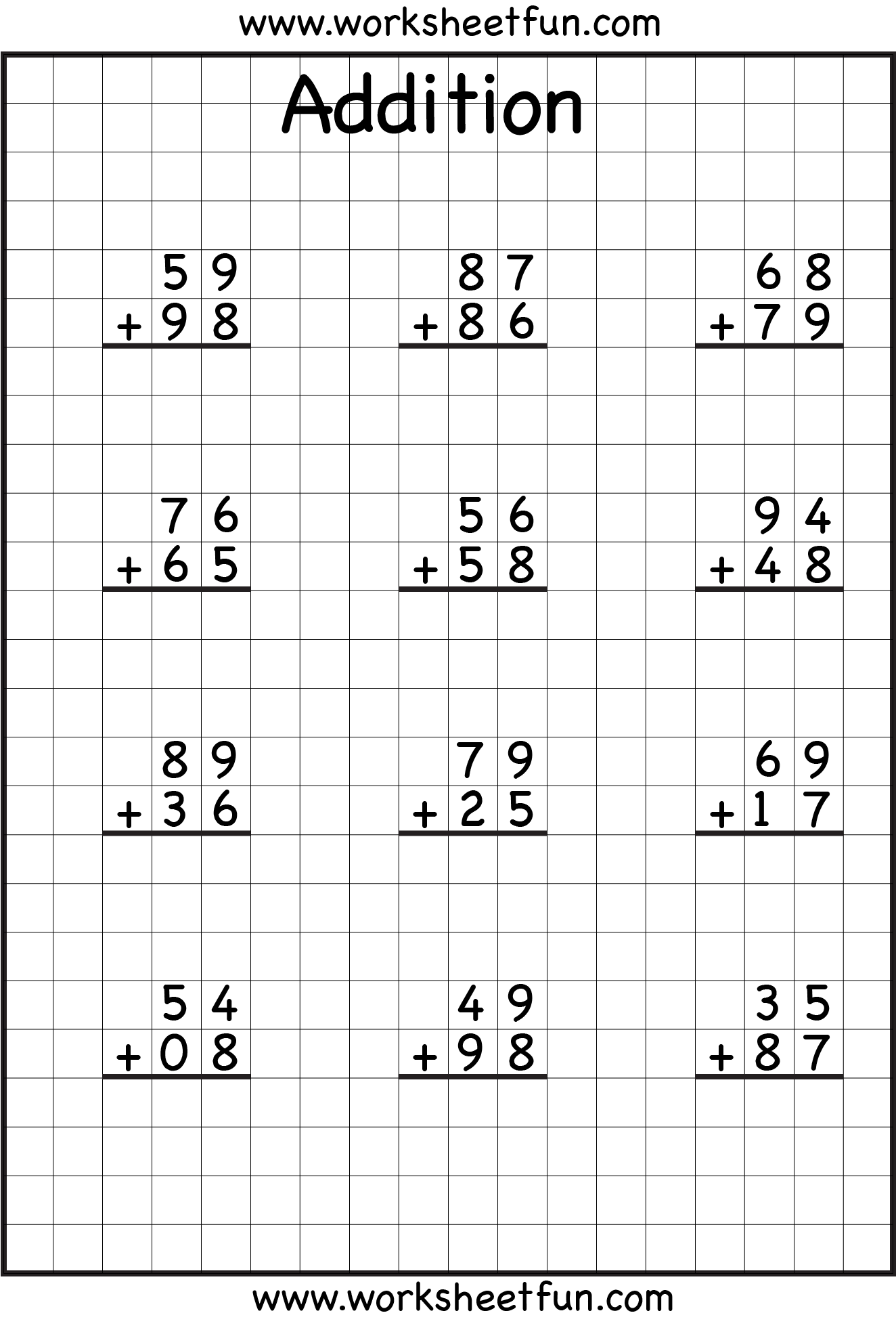 Coloring pages for double digit subtraction - Addition Regrouping
